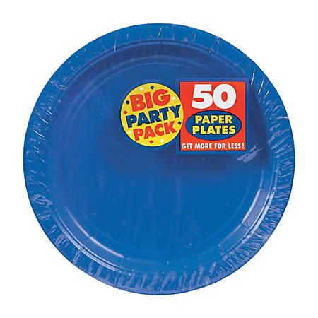 "Amscan Big Party Pack 7"" Round Paper Plates, Royal Blue, 50 Plates Per Pack, Set Of 2 Packs"