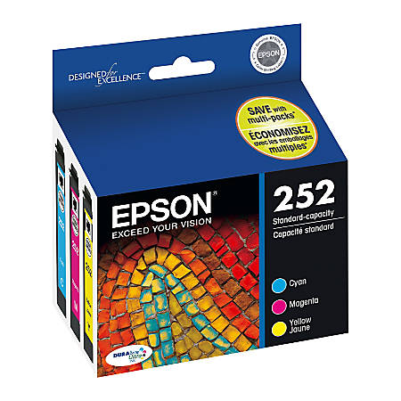 Epson® DuraBrite® Ultra T252520-S Cyan/Magenta/Yellow Ink Cartridges, Pack Of 3