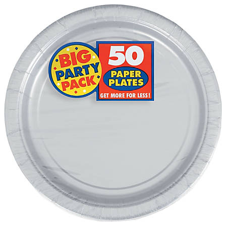 "Amscan Big Party Pack 7"" Round Paper Plates, Silver, 50 Plates Per Pack, Set Of 2 Packs"