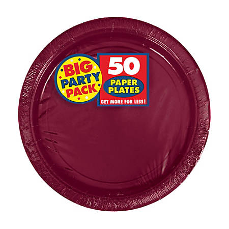 """Amscan Big Party Pack 7"""" Round Paper Plates, Berry, 50 Plates Per Pack, Set Of 2 Packs"""