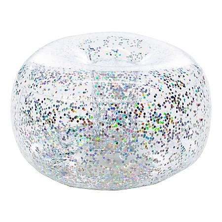 BloChair Glitter Inflatable Ottoman, Silver