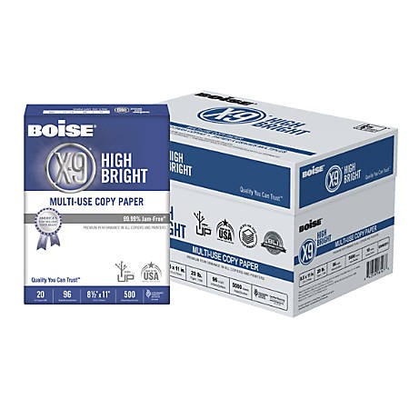 Boise® X-9® High Bright Multipurpose Copy Paper, Letter Paper Size, 108 (Euro)/96 (US) Brightness, 20 Lb, White, 500 Sheets Per Ream, Case Of 10 Reams