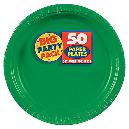 """Amscan Big Party Pack 9"""" Round Paper Plates, Festive Green, 50 Plates Per Pack, Set Of 2 Packs"""
