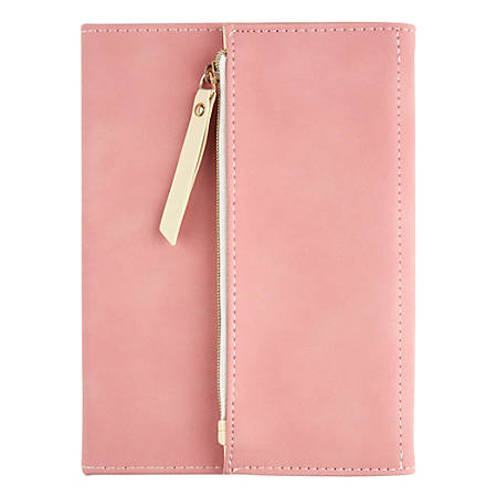 """Office Depot® Brand Journal With Built-In Zipper Pouch, 5"""" x 7"""", College Ruled, 160 Pages (80 Sheets), Blush"""