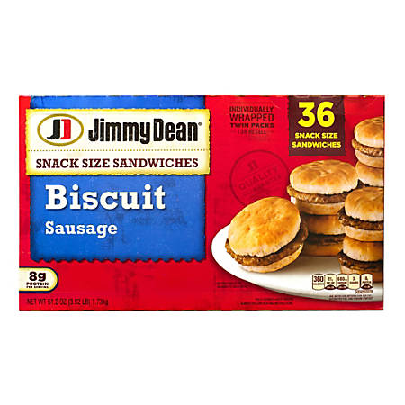 Jimmy Dean Snack-Size Sausage Biscuit Sandwiches, 52.8 Oz, Box Of 36 Sandwiches