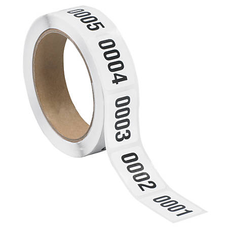 """Tape Logic® Consecutive Numbered Labels, DL1241, 0001 - 0500, Rectangle, 1"""" x 1 1/2"""", Black/White, Roll Of 500"""