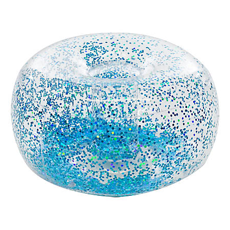 BloChair Glitter Inflatable Ottoman, Blue