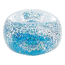 BloChair Glitter Inflatable Ottoman Blue