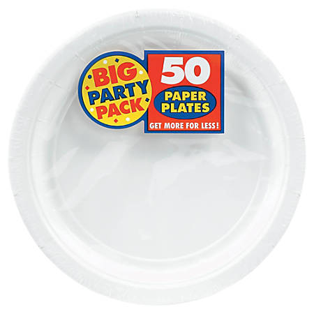 """Amscan Big Party Pack 9"""" Round Paper Plates, Frosty White, 50 Plates Per Pack, Set Of 2 Packs"""