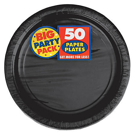 """Amscan Big Party Pack 9"""" Round Paper Plates, Jet Black, 50 Plates Per Pack, Set Of 2 Packs"""