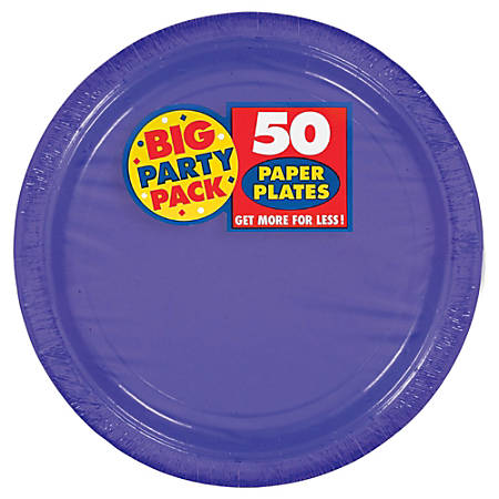 """Amscan Big Party Pack 9"""" Round Paper Plates, Purple, 50 Plates Per Pack, Set Of 2 Packs"""