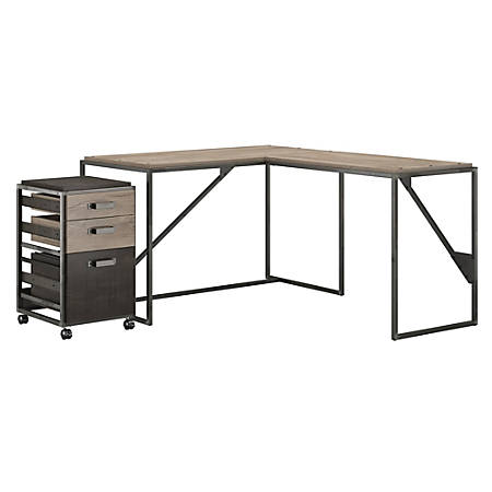 "Bush Furniture Refinery 50""W L Shaped Industrial Desk With 37""W Return And Mobile File Cabinet, Rustic Gray/Charred Wood, Standard Delivery"
