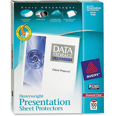 "Avery® Top-Loading Nonstick Sheet Protectors, Heavyweight, Clear, 8 1/2"" x 11"", Box Of 100"
