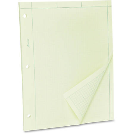 """TOPS Green Tint Engineer's Quadrille Pad - Letter - 100 Sheets - Both Side Ruling Surface - Ruled - 15 lb Basis Weight - 8 1/2"""" x 11"""" - Green Tint Paper - Hole-punched - 100 / Pad"""