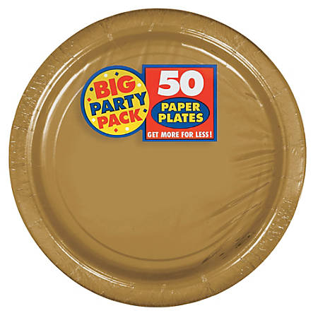 """Amscan Big Party Pack 9"""" Round Paper Plates, Gold, 50 Plates Per Pack, Set Of 2 Packs"""