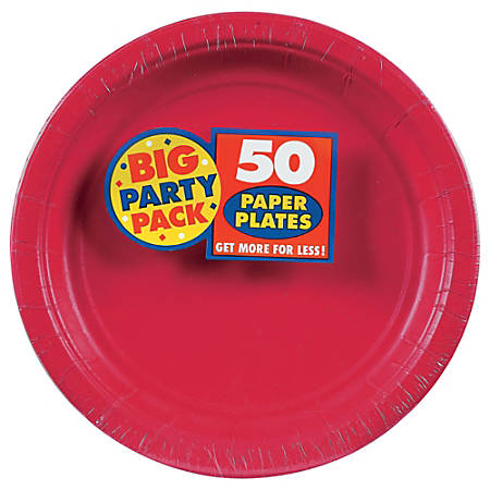 """Amscan Big Party Pack 9"""" Round Paper Plates, Apple Red, 50 Plates Per Pack, Set Of 2 Packs"""