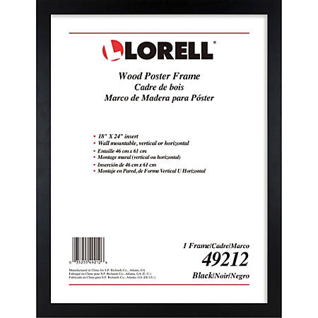 """Lorell Wide Frame - 18"""" x 24"""" Frame Size - Rectangle - Wall Mountable - Horizontal, Vertical - 1 Each - Wood - Black"""