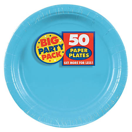 """Amscan Big Party Pack 9"""" Round Paper Plates, Caribbean Blue, 50 Plates Per Pack, Set Of 2 Packs"""