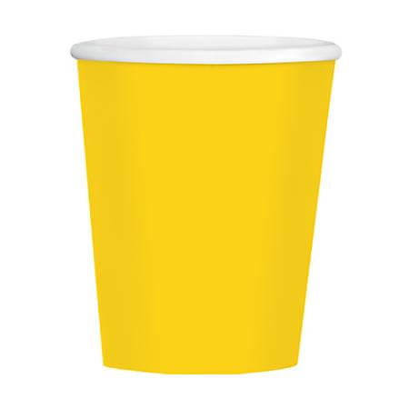 Amscan Hot/Cold Paper Cups, 12 Oz, Sunshine Yellow, Pack Of 40 Cups, Case Of 4 Packs