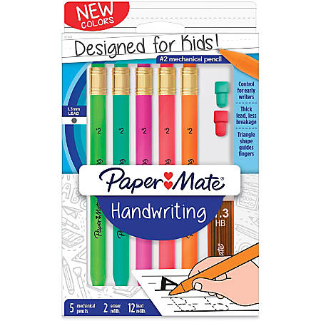 Paper Mate Handwriting Mechanical Pencils - Thick Point - Black Lead - Assorted Barrel - 5 / Pack
