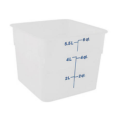 Cambro CamSquare Food Storage Container, 6 Qt, White