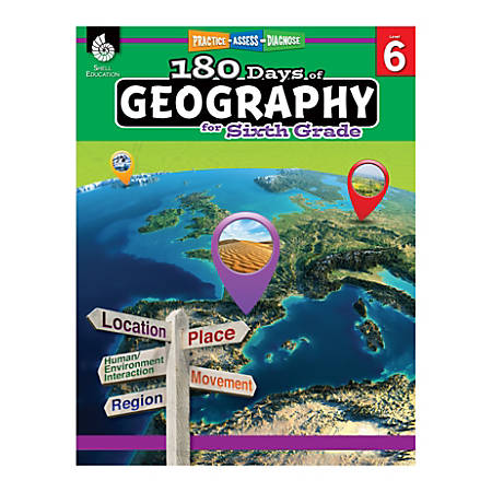 Shell Education 180 Days Of Geography, Grade 6