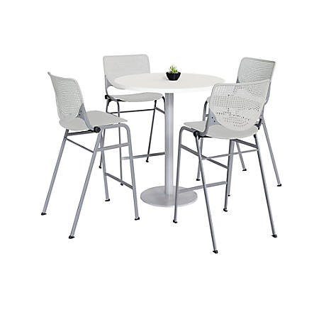 "KFI Studios KOOL Round Pedestal Table With 4 Stacking Chairs, 41""H x 36""D, Designer White/Light Gray"