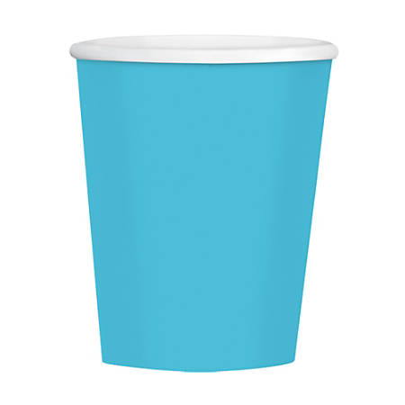 Amscan Hot/Cold Paper Cups, 12 Oz, Caribbean Blue, Pack Of 40 Cups, Case Of 4 Packs