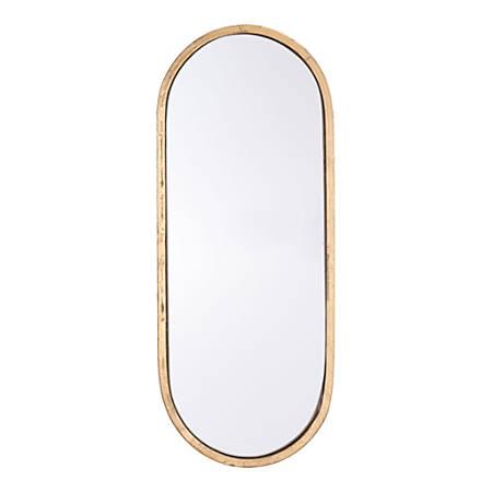"Zuo Modern Oval Mirror, 19 15/16""H x 8 1/8""W x 13/16""D, Gold"