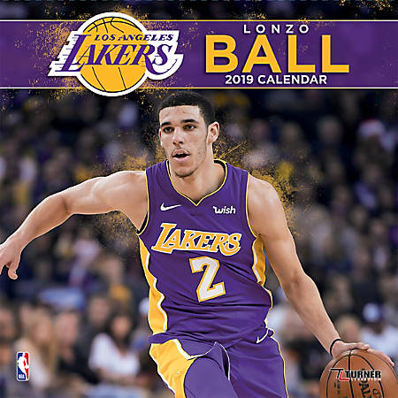 """Turner Sports Monthly Wall Calendar, 12"""" x 12"""", Los Angeles Lakers Lonzo Ball, January to December 2019"""
