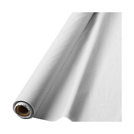 """Amscan Plastic Table Cover Roll, 100' x 40"""", Frosty White"""