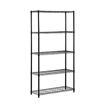 "Honey-can-do SHF-01442 5-Tier Industrial Shelving Holds 200-Pounds Per Shelf, 72-Inch, Black - 5 Tier(s) - 72"" Height x 14"" Width - Floor - Black - Steel"