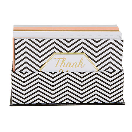 """Sincerely A Collection by C.R. Gibson® Flat Notes, 3 1/2"""" x 5 1/2"""", Black/White Chevron, Pack Of 50"""