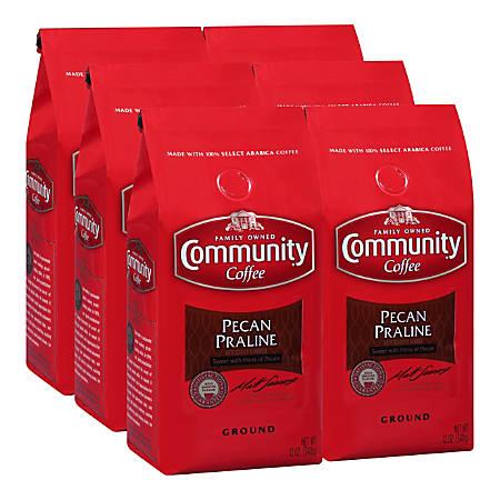 Community Coffee Arabica Ground Coffee, Pecan Praline, 12 Oz, Carton Of 6 Bags