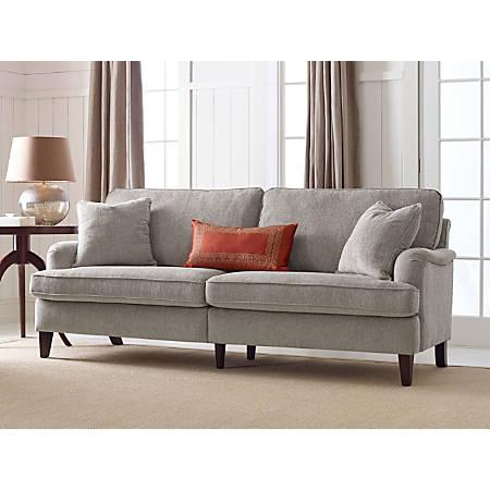 "Serta Carlisle Sofa With Pleated Arms, 78"", Beige"