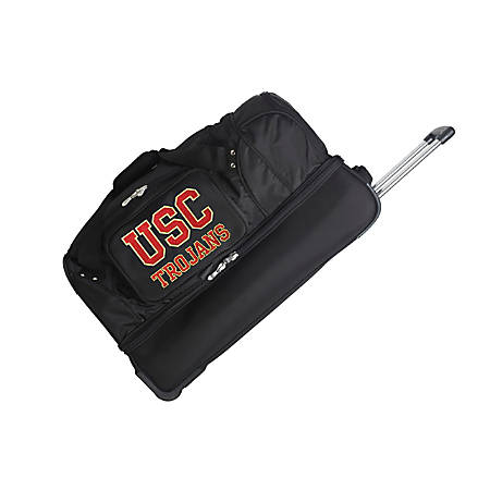 Denco Sports Luggage Rolling Drop-Bottom Duffel Bag, USC Trojans, Black