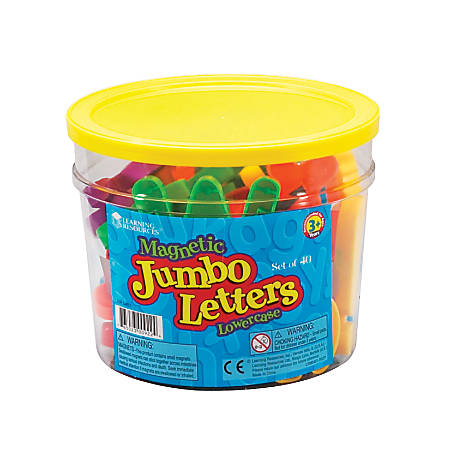 Learning Resources Jumbo Magnetic Lowercase Letters, Assorted Colors, Pack Of 40