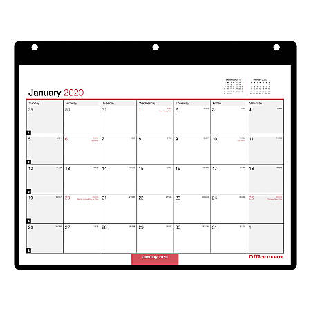 Office Depot Brand Monthly Wall Calendar 11 X 8 1 Black Red January To December 2020 Od201700 Item 7154096