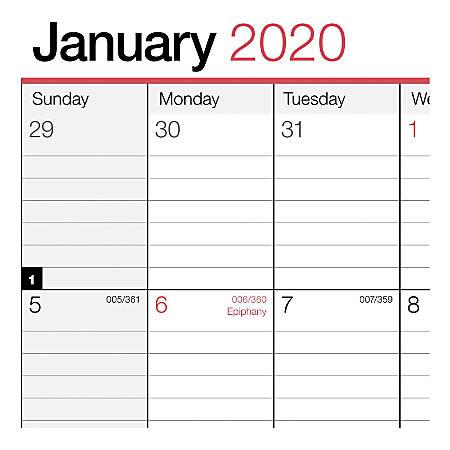 January 2020 Calendar 8x11 Office Depot Monthly Wall Calendar 8x11 2020   Office Depot