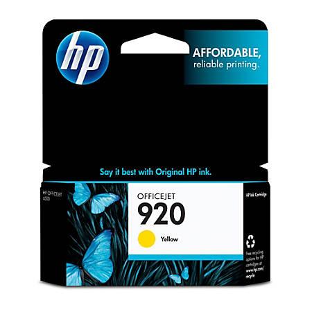 HP 920, Yellow Original Ink Cartridge (CH636AN)