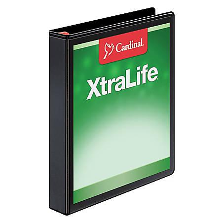 """Cardinal® XtraLife® Locking Slant-D® Ring Binder, 1"""" Rings, 52% Recycled, Black"""