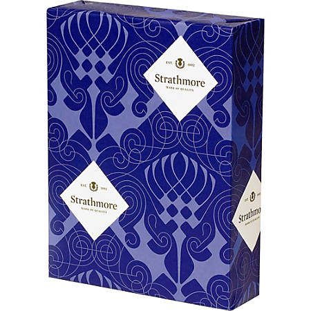 """Mohawk Strathmore Wove Paper, Letter Size (8 1/2"""" x 11""""), 24 Lb, Wove, Natural, Ream Of 500 Sheets"""