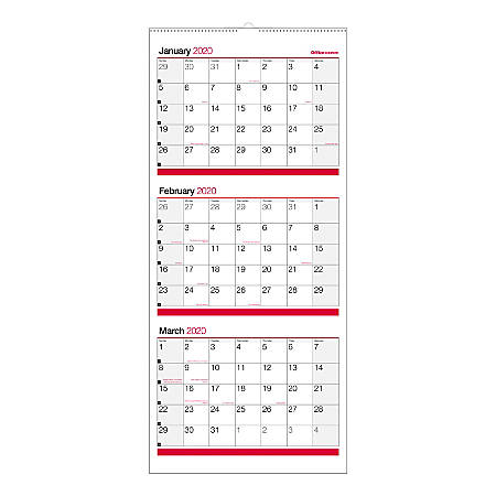 "Office Depot® Brand 3-Month Monthly Reference Wall Calendar, 27"" x 12"", Black/Red, January To December 2020, OD303028"