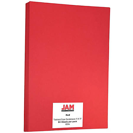 "JAM Paper® Cover Card Stock, 11"" x 17"", 65 Lb, 30% Recycled, Re-Entry Red, Pack Of 50 Sheets"