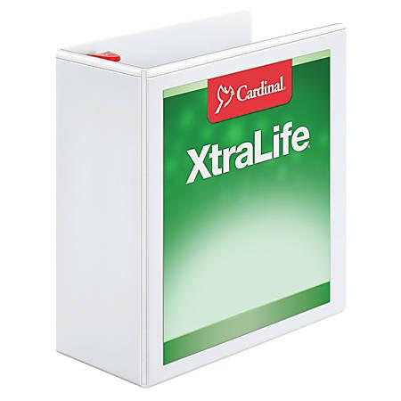 """Cardinal® XtraLife® Locking Slant-D® Ring Binder, 4"""" Rings, 52% Recycled, White"""