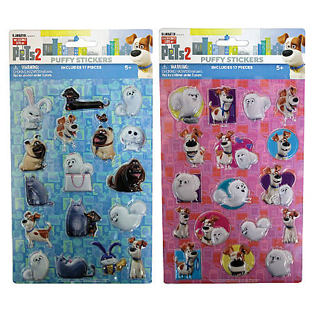 Inkology Puffy Stickers, The Secret Life Of Pets, Pack Of 6 Sheets