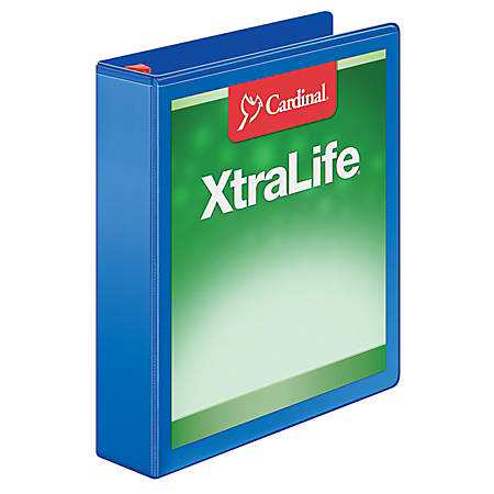 "Cardinal® XtraLife® Locking Slant-D® Ring Binder, 1 1/2"" Rings, 52% Recycled, Blue"