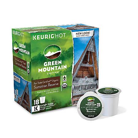 Green Mountain Coffee® Fair Trade Organic Sumatran Reserve Extra Bold Coffee Single-Serve K-Cup®, Carton Of 18