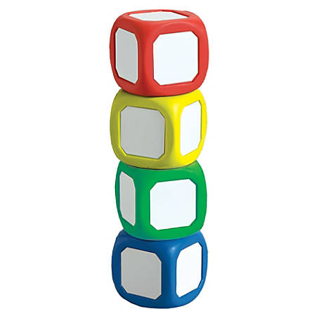 """Learning Advantage™ Magnetic Dry-Erase Dice, 2""""H x 2""""W x 2""""D, Assorted Colors, Pack Of 4"""