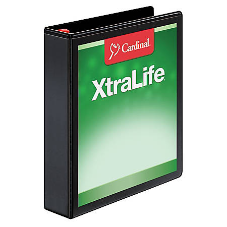 "Cardinal® XtraLife® Locking Slant-D® Ring Binder, 1 1/2"" Rings, 52% Recycled, Black"